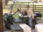 Our hostess Brenda Butler King, making one of many trips from her house to the barn, bringing delicious homemade treats
