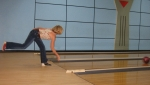 Terri Jackman Sanders displays good form as she and partner Tom Burry win high score in the second game (game one to Tom